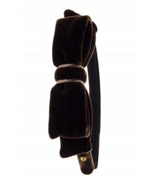 Headband Velours de soie brown bow
