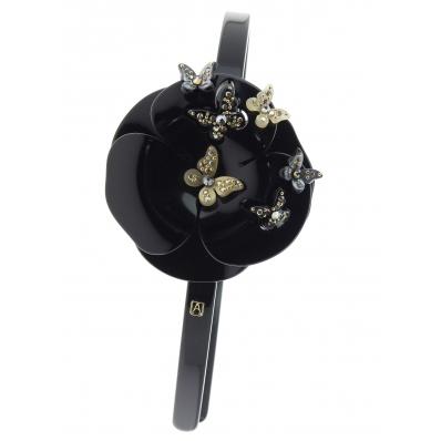 alexandre de paris headband camelia flower black