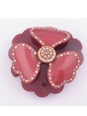 Rhinestone Flower barrette French clip