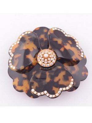 Crystal Flower hair clip Tortoise barrette Pivoine