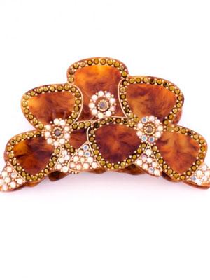 MC Davidian hair clip claw crystal Flower tortoise