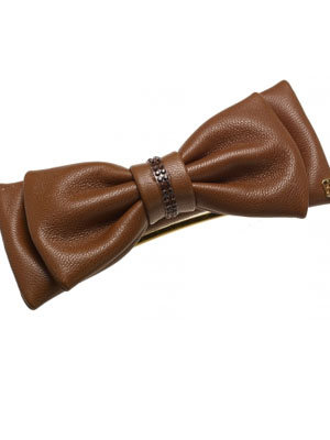 leather bow barrette