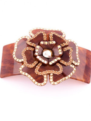 MC Davidian flower hair clip crystal Swarovski barrette