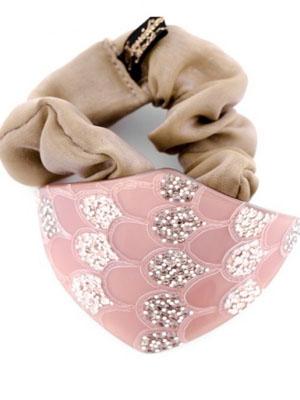 mcdavidian scrunchie fabric ponytail holder crystals