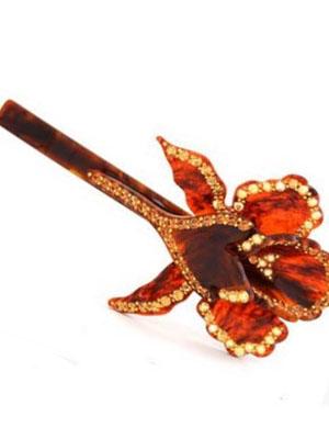 Rhinestone hair barrette MC Davidian Orchid hair clip