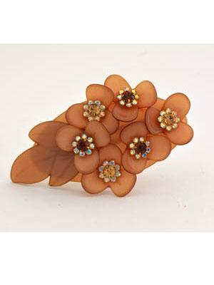 Rhinestone hair barrette flower