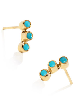 Turquoise earrings Gold plated