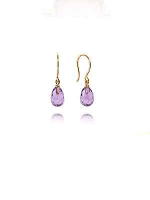 Amethyst earrings Gold plated silver 925