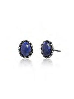 Lapis earrings stud silver 925 oxidized