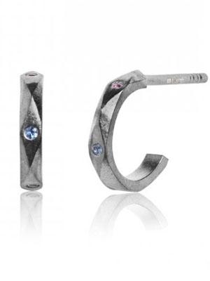 Sapphire blue pink earrings 925 silver