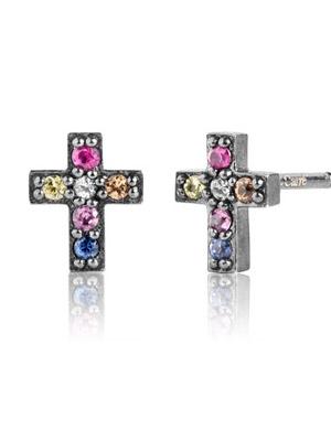 sapphire-earrings-silver-925-oxidized