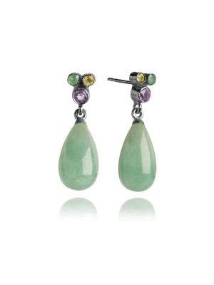 silver 925 earrings aventurine